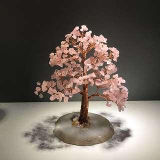 天然粉水晶瑪瑙原石發財樹擺件