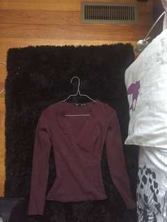 Sportsgirl ribbed maroon cross over top size XXS