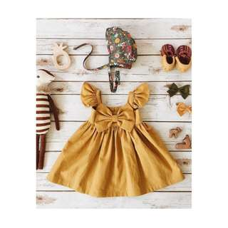 [PO] yellow bow flare dress - byoki dress