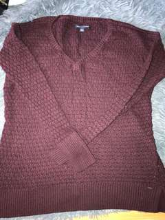American eagle outfitters aeo purple v neck sweater 毛衣