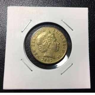 紐西蘭/紐澳new zealand ,ONE DOLLAR/1元/壹圓,2002年