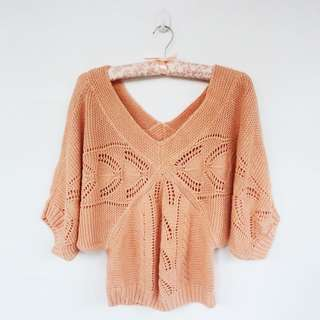 Batwing Sweater in Coral