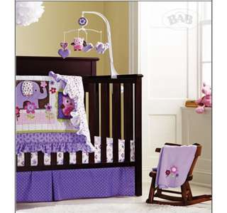 Baby Cot Bedding Set - Premium Purple Owl