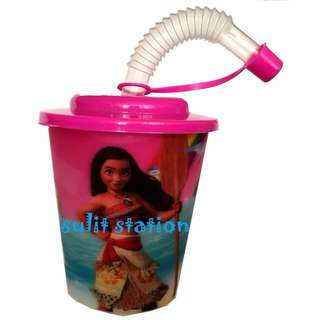 MOANA PARTY REUSABLE PVC TUMBLER with STRAW & COVER GIVEAWAYS SOUVENIRS