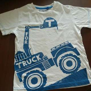 5 To 6 Year Old Cotton T-shirt Truck Blue Zoo Uk Label Mothercare
