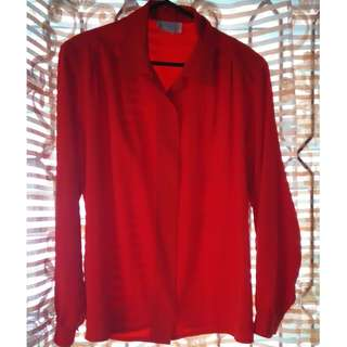 Red - Long Sleeves with Shoulder Padded