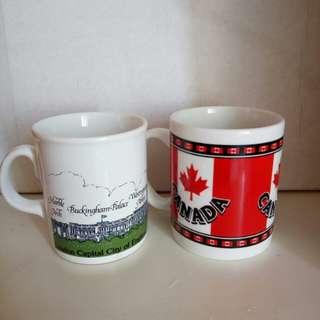 英國及加拿大旅行紀念品瓷杯,每隻