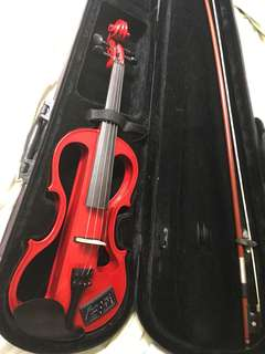 Funky red electric violin