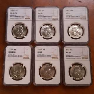 6 x Franklin Silver Half Dollar NGC MS64