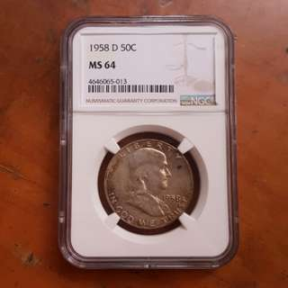 1958 D 50C Franklin Silver Half Dollar NGC MS64
