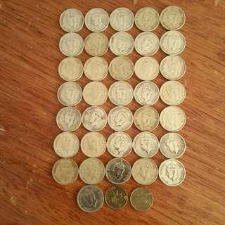 包真:香港硬幣:男王頭:大1毫🖐1948年9個👉49年9個👉50年9個👉51年9個🖐👉共36個