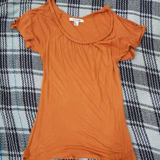 Forever 21 Cold Shoulder Rust Orange Top