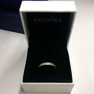 Pandora Heart Silver Ring with silver enamel