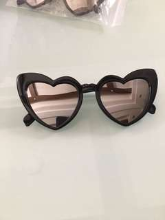 Retro Heart Black Silver Reflective Sunnies