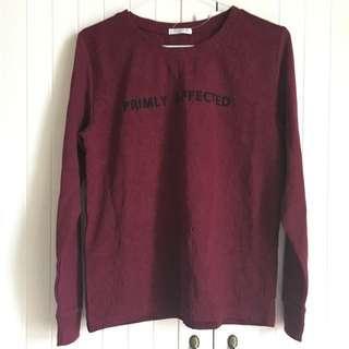 🚚 日本COLZA品牌 酒紅色變形蟲壓紋拼接長袖上衣