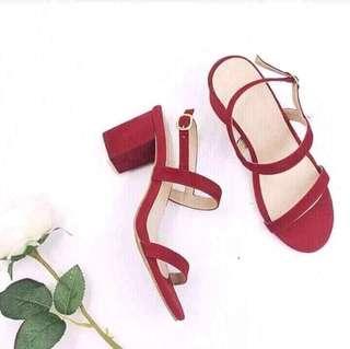Red velvet block heels sandals