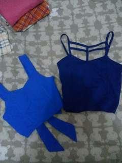 Bundle blue crop tops