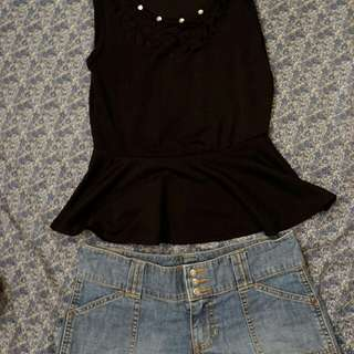 Black Preppy Top + Old Navy Denim shorts