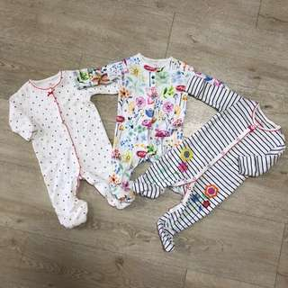 Bundle of 3 - pretty floral themed baby romper