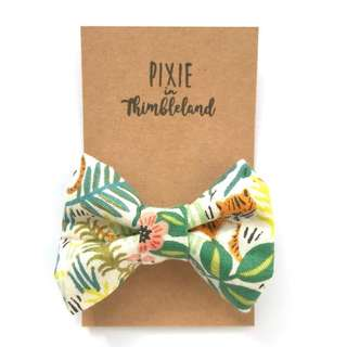 Jungle // Rifle Midsize Bow | Girl Hair Clip | Rifle Paper Co. fabric | Handmade | Tags: Handmade, Newborn Kids Girls Toddlers Baby Hair Clip, Girls Newborn Toddlers Babies Headband Bow, kids fashion accessories