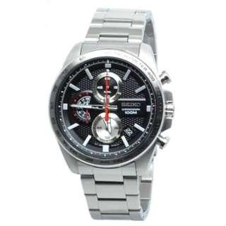 Seiko Men SSB255P1  Quartz Chronograph Black Silver Jam Tangan Pria SSB255
