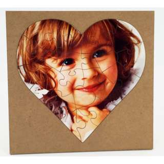 Customized MDF Wood Heart Shaped Puzzle With Frame Photo Gift