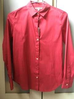 🚚 顯白光面質感桃紅襯衫