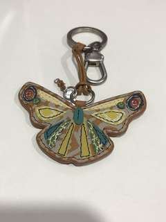 Brand new authentic Fossil leather butterfly keyring