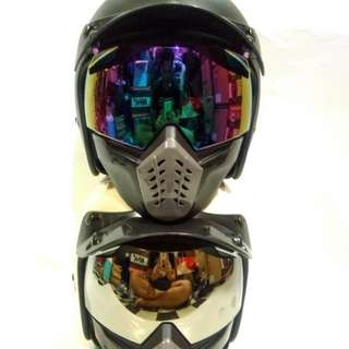 Set helm Cargloss CF retro + google mask + pet