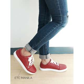Sale!!! Italian Hot Red Matte-Finish Leather-Summer Sneakers