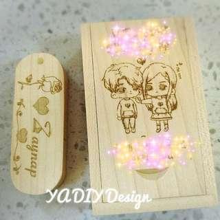 DIY USB 訂制木制人名USB手指