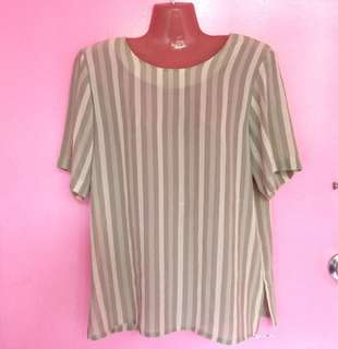 Cream Chiffon Stripe Top