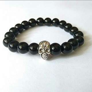 Offer Bracelet $10 Unisex Silver Tone Skull Shiny Black Onyx Stone Bracelet Gift For Men And Women Bracelets