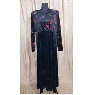 Floral Prints Velvet Long Dress
