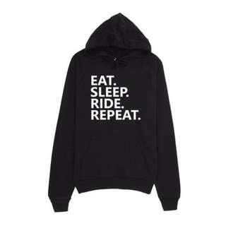 Jaket Sweater Hoodie Zipper Eat Sleep Ride Repeat