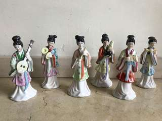Porcelain Figurines: Chinese Female Musicians in Historical Costume and Traditional Instruments