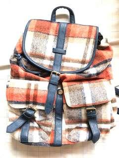 Korean Inspired Checkered/Plaid Blue Backpack