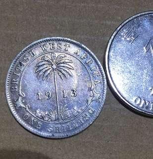 1913年 英屬西非 One Shilling 銀幣