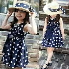 polka dot blue dress for girls