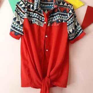Red-aztec blouse
