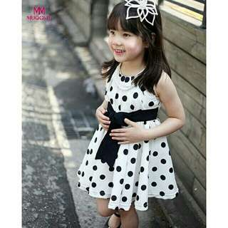 polka dot white dress for kids