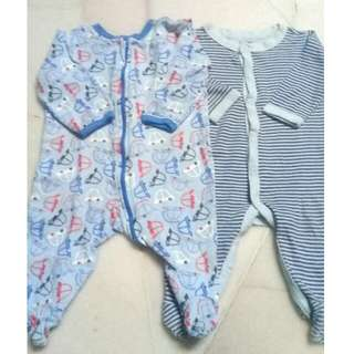 0-3 2pcs Sleepsuit / Overall (Blue)