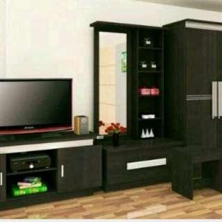 Paket hemat lemari pakaian 3 pintu+meja rias+meja tv