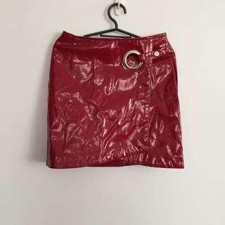 Stradivarius Red Patent Mini Skirt