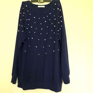 🚚 日本專櫃購Gdwad coutuer寶石藍鑲珍珠落肩上衣
