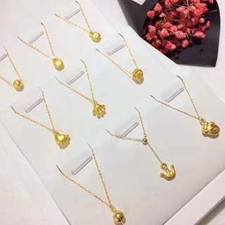 24K Gold Pendant with 18K Necklace Set (8 designs to choose)