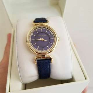 Anne Klein Women's Gold Tone Navy Leather Strap Watch, 33mm