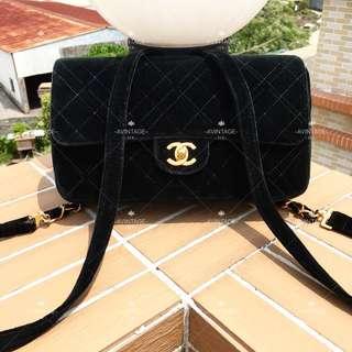 (SOLD)Chanel Vintage 黑色絨面 Backpack 背囊
