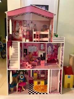 Wooden dollhouse doll house
