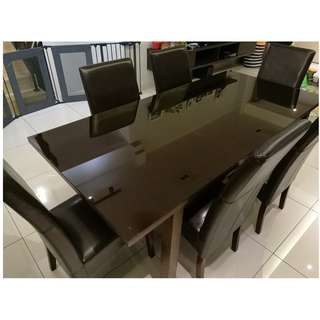 Luxury Dining table (1+6) Full Leather Seats- extendable, tempered glass, wood